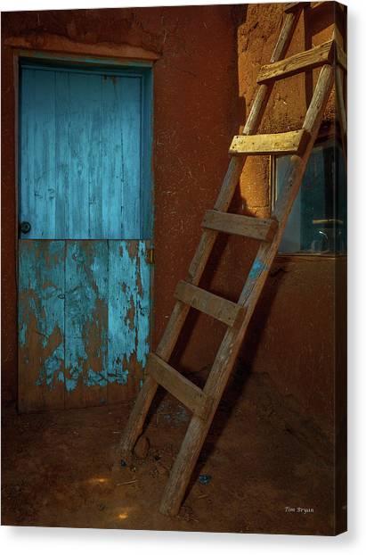 Blue Door And Ladder - Taos Pueblo Canvas Print