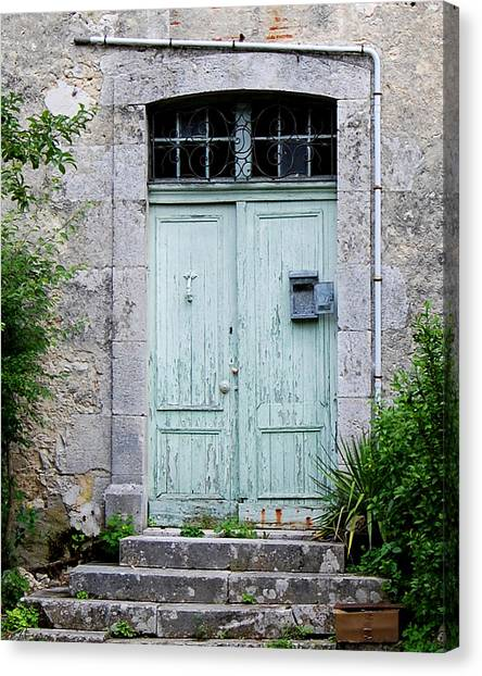 Blue Door In Vianne France Canvas Print