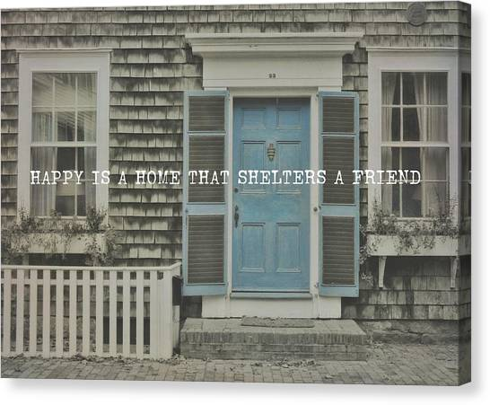 Blue Door Quote Canvas Print by JAMART Photography