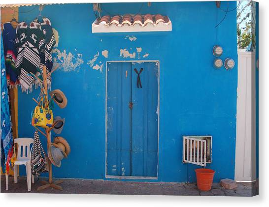 Blue Doors In Mexico Canvas Print by Mary Pearson