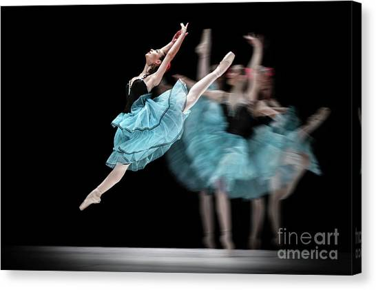 Canvas Print featuring the photograph Blue Dress Dance by Dimitar Hristov