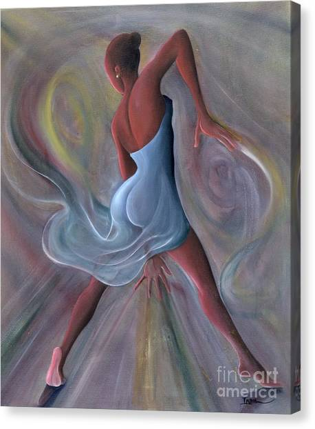 African Canvas Print - Blue Dress by Ikahl Beckford