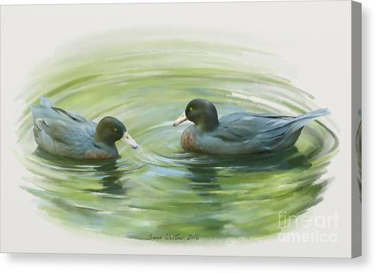 Blue Ducks  Canvas Print
