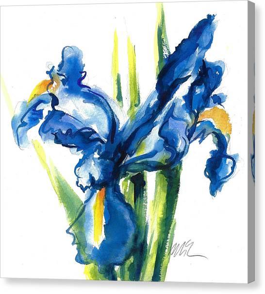 Blue Dutch Iris Flower Painting Canvas Print