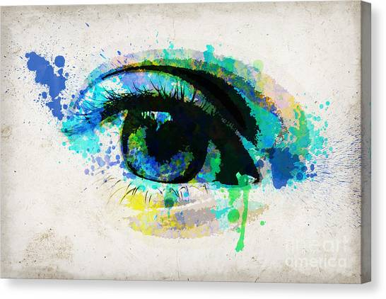 Imagination Canvas Print - Blue Eye Watercolor by Delphimages Photo Creations