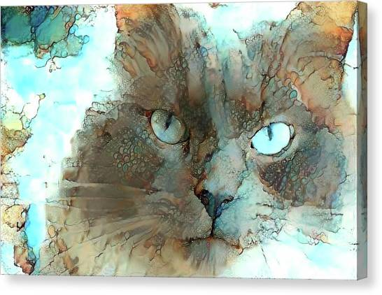 Blue Eyed Persian Cat Watercolor Canvas Print