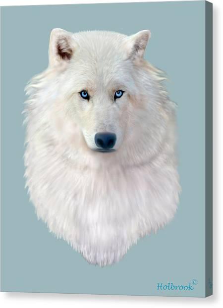 Blue-eyed Snow Wolf Canvas Print
