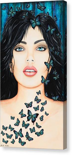 Canvas Print featuring the painting Blue Eyes And Butterflies by Dede Koll