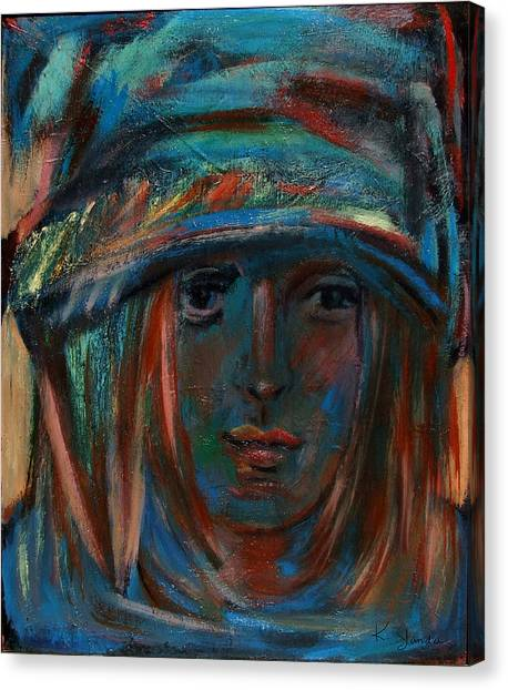 Blue Faced Girl Canvas Print