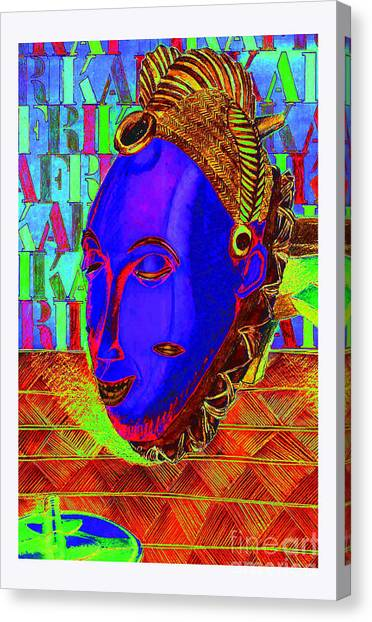 Blue Faced Mask Canvas Print by Ronald Rosenberg