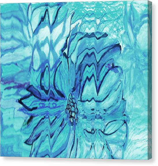 Canvas Print - Blue Fantasy Floral  by Anne-elizabeth Whiteway