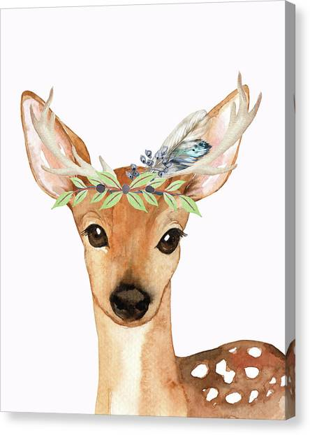 Baby Deer Canvas Print - Blue Feather Woodland Boho Deer by Pink Forest Cafe