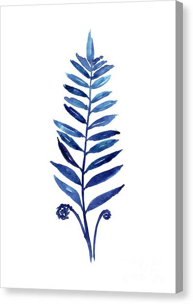 Botanical Canvas Print - Blue Fern Watercolor Poster by Joanna Szmerdt