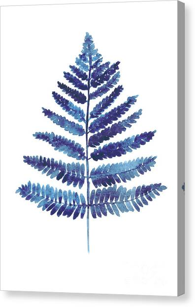 Garden Flowers Canvas Print - Blue Ferns Watercolor Art Print Painting by Joanna Szmerdt