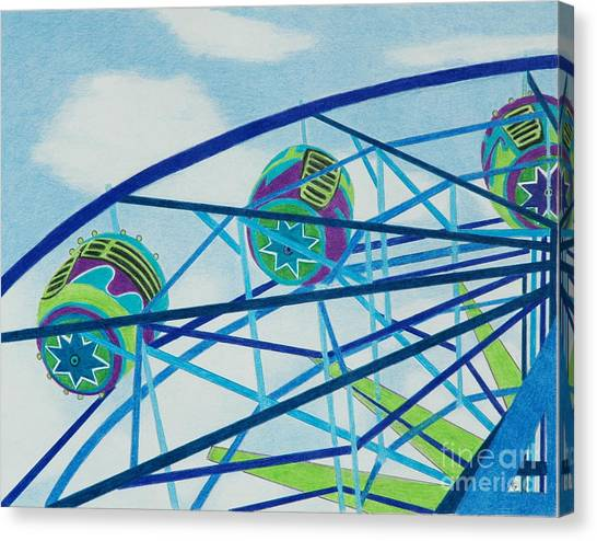Blue Ferris Wheel Canvas Print