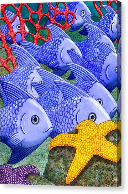 Reef Canvas Print - Blue Fish by Catherine G McElroy