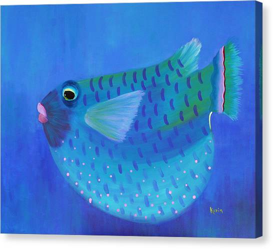 Blue Fish With Pink Lips Canvas Print