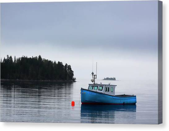 Nova Scotia Canvas Print - Blue Fishing Boat In Fog by Carol Leigh