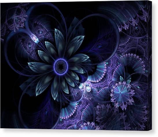 Blue Fleur And Lace Canvas Print