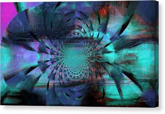 Blue Fleur Canvas Print by Fania Simon