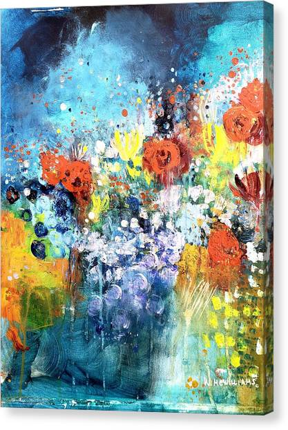 Blue Floral Canvas Print by Wendy Mcwilliams