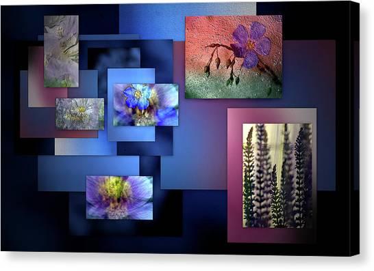 Blue Flower Collage Canvas Print