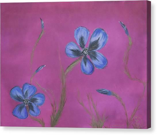 Blue Flower Magenta Background Canvas Print