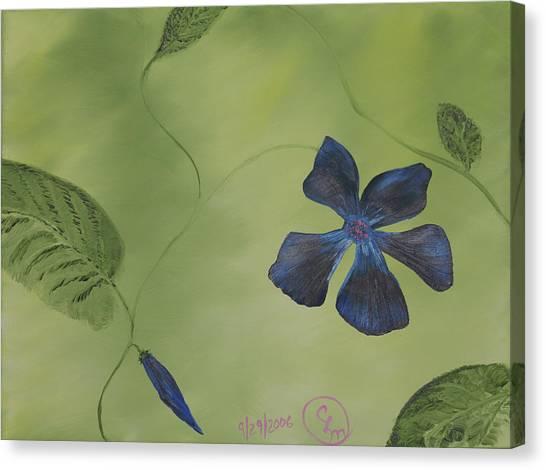Blue Flower On A Vine Canvas Print