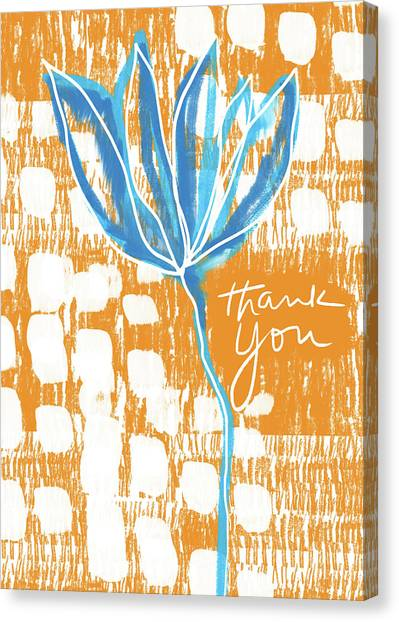 Thank Canvas Print - Blue Flower Thank You- Art By Linda Woods by Linda Woods