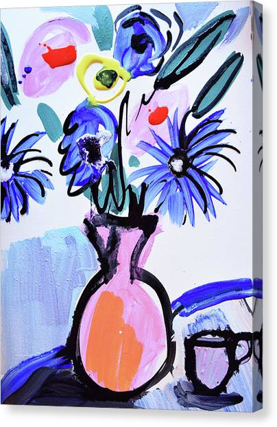 Blue Flowers And Coffee Cup Canvas Print