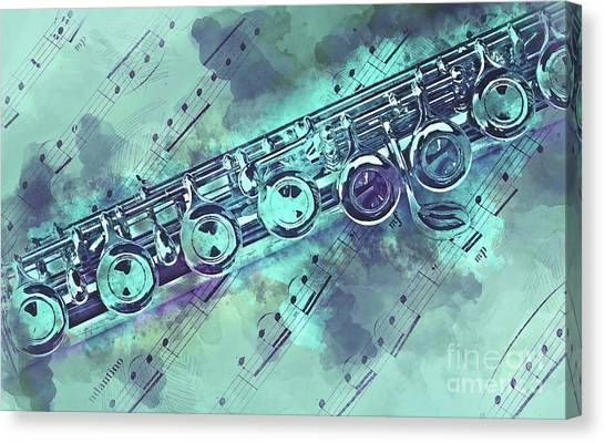 Flutes Canvas Print - Blue Flute Watercolor by Delphimages Photo Creations