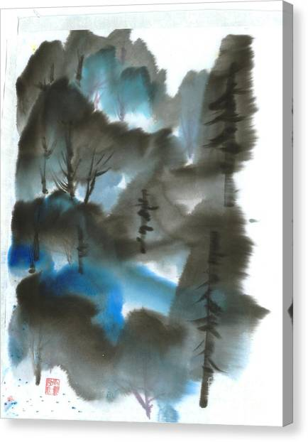 Blue Forest Canvas Print by Mui-Joo Wee