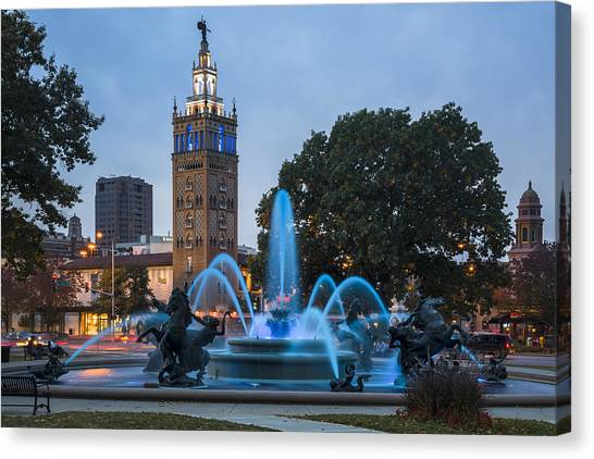 Blue Fountain Canvas Print