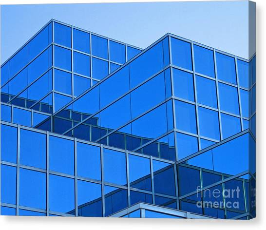 Eastern Michigan University Canvas Print - Blue Geometry by Ann Horn