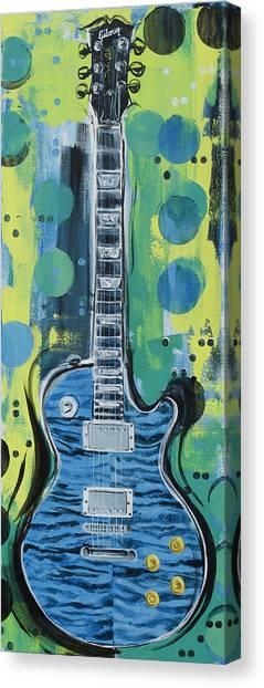 Blue Gibson Guitar Canvas Print