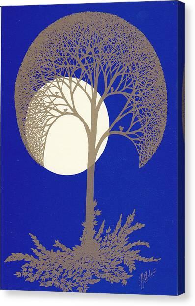 Blue Gold Moon Canvas Print