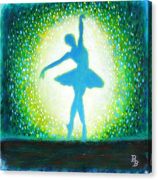 Blue-green Ballerina Canvas Print