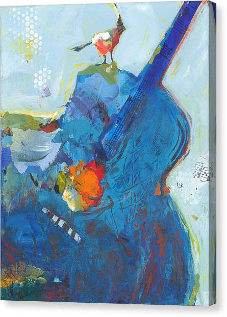 Blue Guitar With Bird Canvas Print