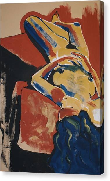 Blue Hair Canvas Print by Joanne Claxton