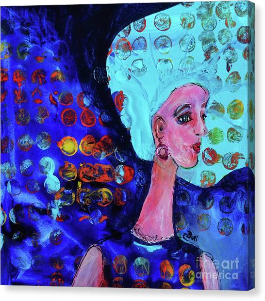 Blue Haired Girl On Windy Day Canvas Print