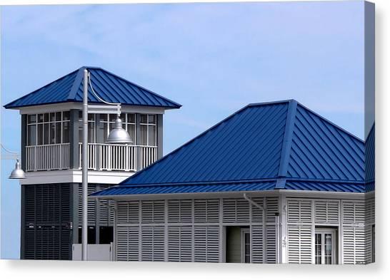 Blue Harbor Roofs Canvas Print