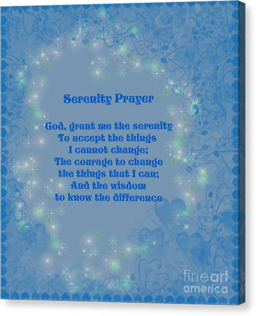 Blue Hearts Serenity Prayer Canvas Print