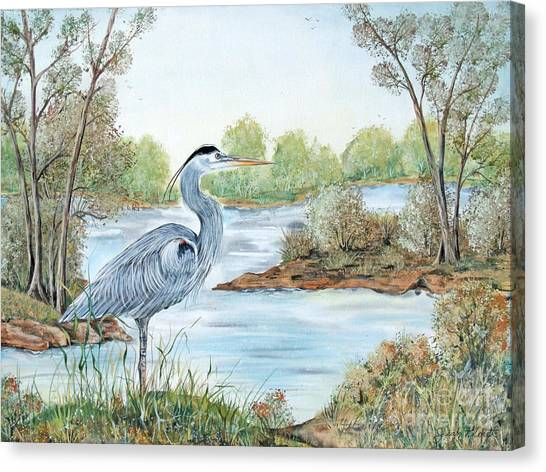 Marsh Grass Canvas Print - Blue Heron Of The Marshlands by Jean PLout