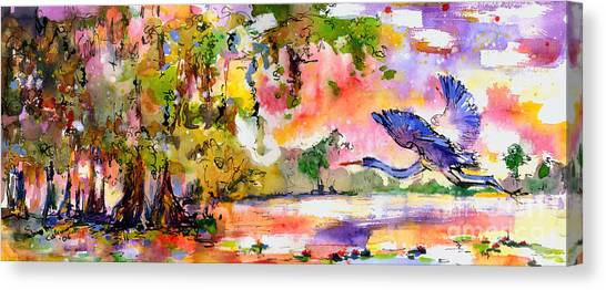 Okefenokee Canvas Print - Blue Heron Paradise by Ginette Callaway
