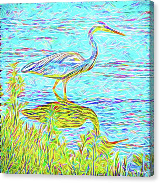 Blue Heron Reflections - Lake In Boulder County Colorado Canvas Print