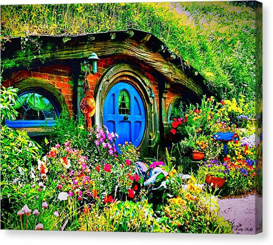 Blue Hobbit Door Canvas Print