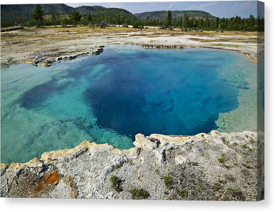 Wy Canvas Print - Blue Hot Springs Yellowstone National Park by Garry Gay