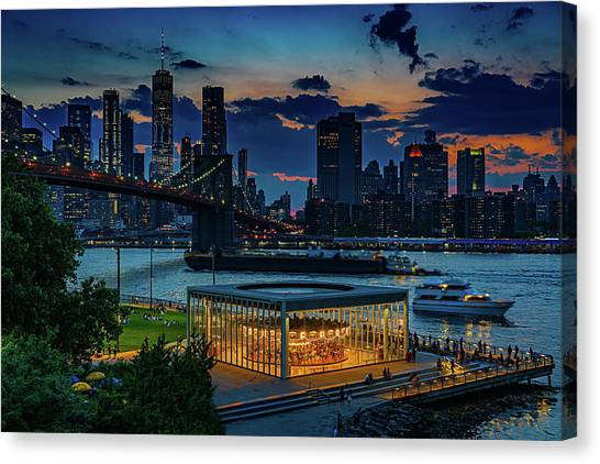 Canvas Print featuring the photograph Blue Hour At Brooklyn Bridge Park by Chris Lord