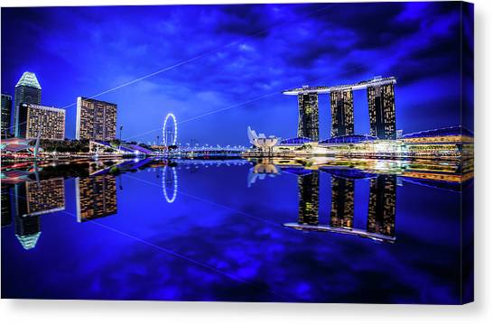 Blue Hour At Marina Bay Canvas Print