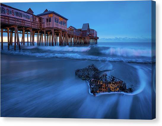 Blue Hour At The Old Orchard Beach Pier Canvas Print by Jeff Bazinet